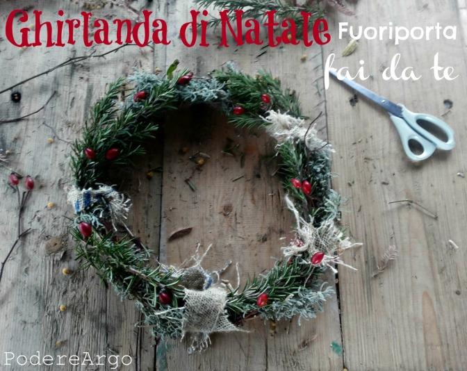 Ghirlanda di Natale fuoriporta fai-da-te con le erbe aromatiche