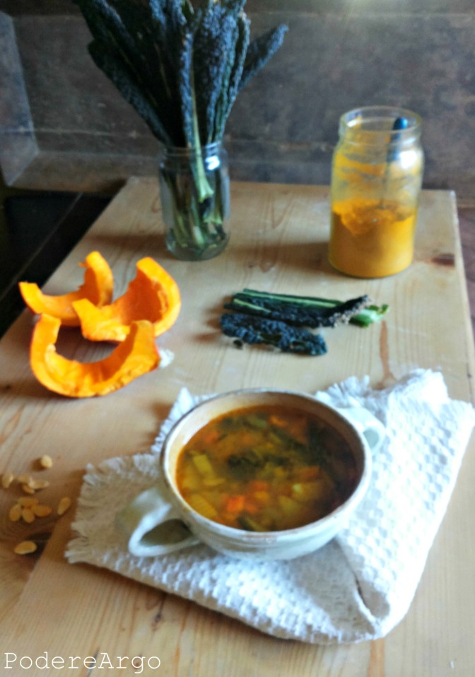 Zuppa di cavolo nero e zucca, con curcuma, zenzero e semi vari